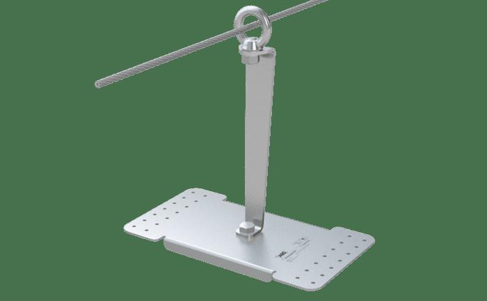 Het ABS-Lock X-Rivet aanlijnpunt met 350 mm lange steun.