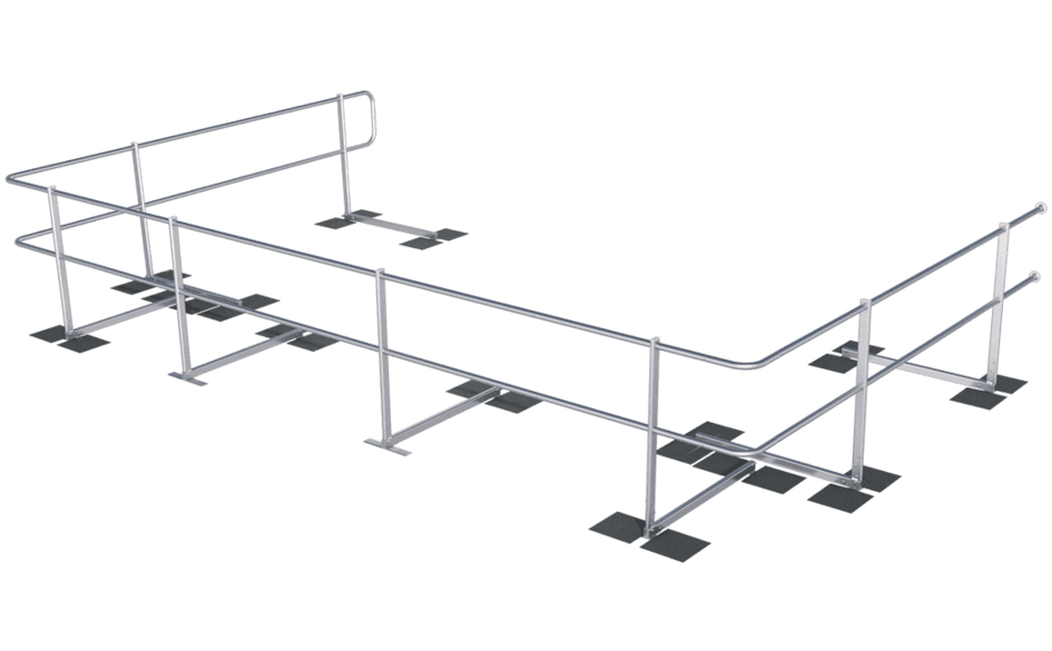 Image showing an ABS Guard OnTop Fusion guard rail system which provides lateral protection on a bitumen roof surface - installed without weights