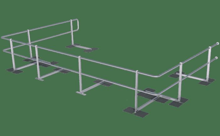 Een zijdelingse beveiligingsoplossing voor bitumendaken die zonder ballast wordt aangebracht.