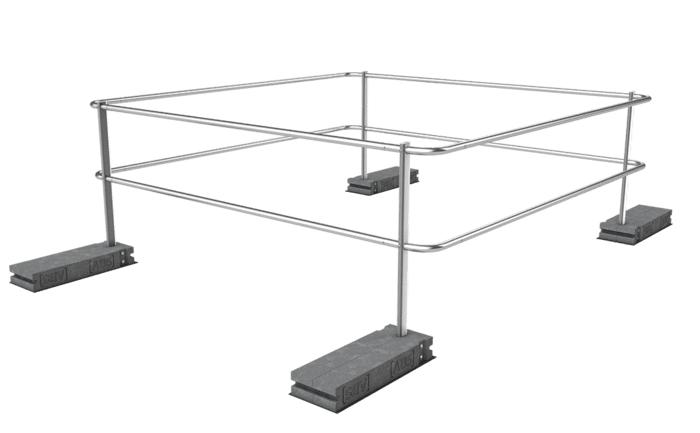 Image showing an ABS Dome OnTop Weight guard rail weighted down with special concrete weights - specially designed to secure domed rooflights