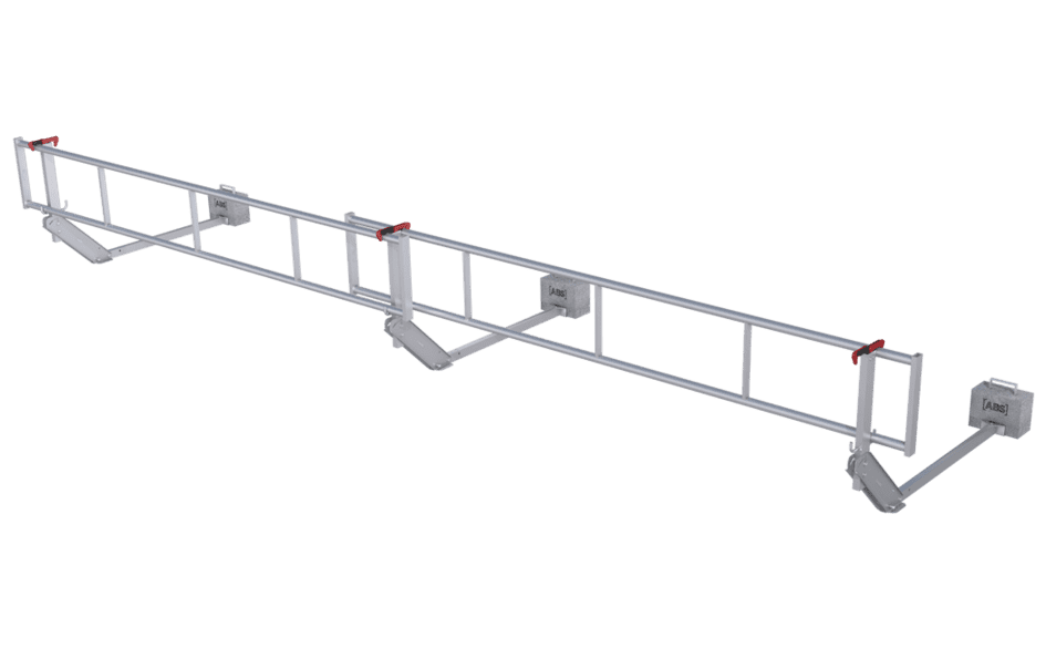Image showing our ABS Mobile Guard - flat guard rail system - specially designed to secure a flat roof surface on a temporary basis