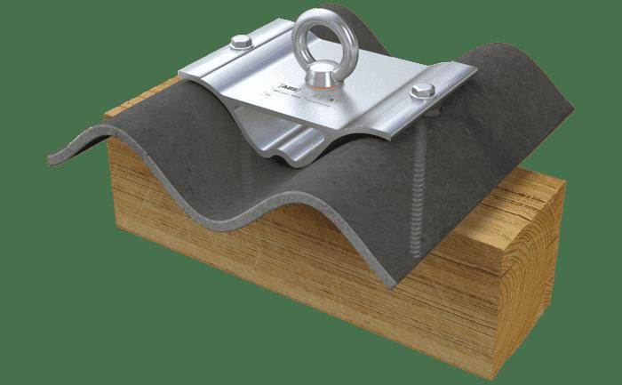 Grafik eines speziellen Sekuranten für Wellplattendächer.Illustration d'un point d'ancrage spécial pour les toits à plaques ondulées.