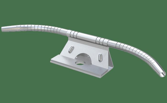 Een met de hand instelbaar bochtelement voor staalkabelsystemen.