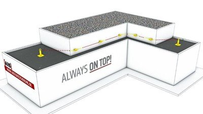 Darstellung eines Seilsicherungssystems an einer Fassade