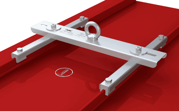 Image showing an anchorage device for workers working high-up. Our ABS-Lock- Falz IV Klip is permanently clamped onto the seam