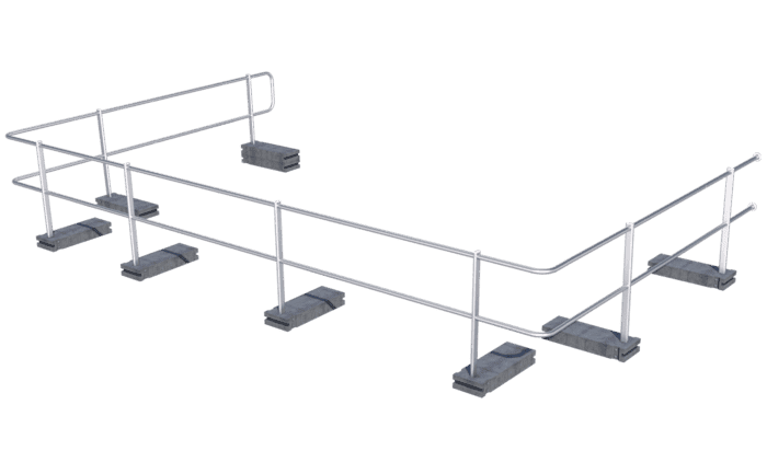 Image showing our ABS Guard OnTop Weight guard rail system with concrete weights installed on a flat roof using weights - provides lateral protection