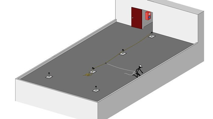 Sketch showing an example of how an ABS Lanyard - temporary lifeline system could be implemented