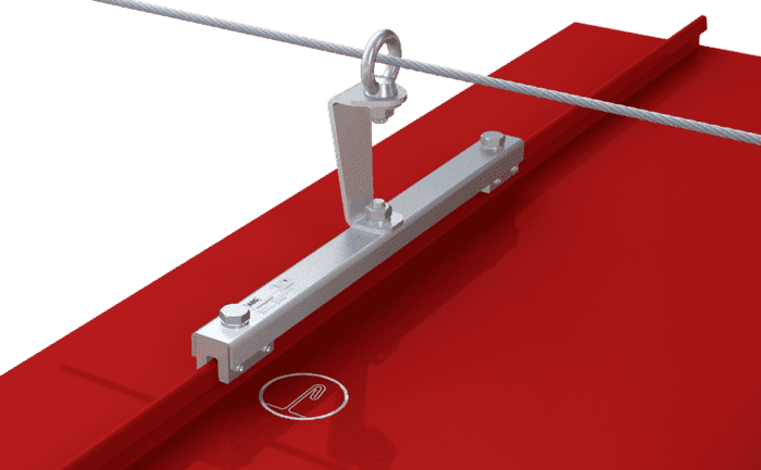 Image showing an intermediate bracket installed as part of a lifeline system on a metal roof surface