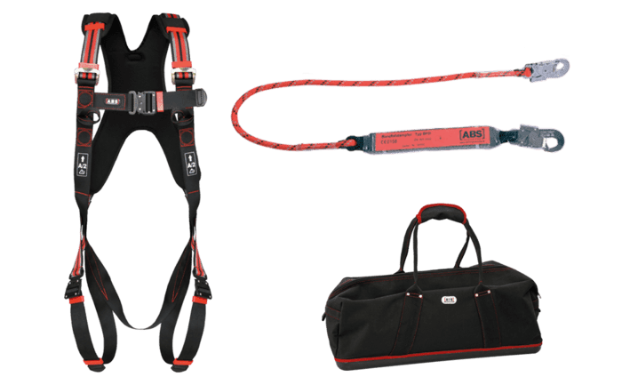 Pre-configured individual fall protection kit for cleaning open windows