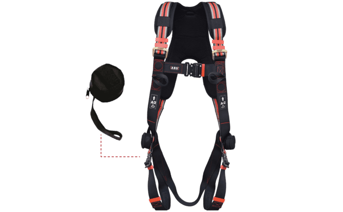Image showing an ABS Trauma Strap attached to a safety harness - ideal fall arrest protection