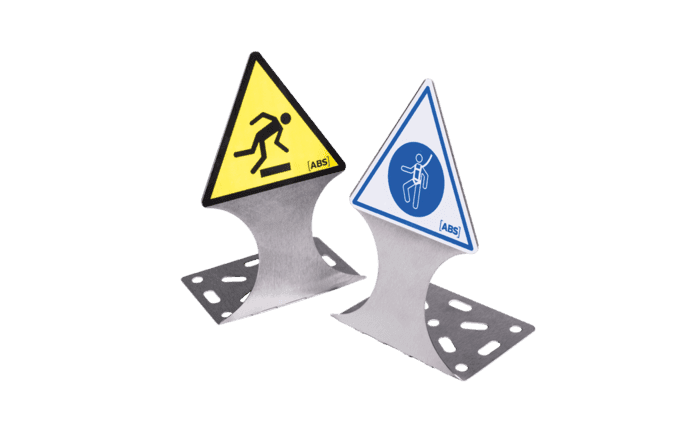 Grafik der unkompliziert zIllustration des panneaux d'avertissement faciles à fixer et indiquant les risques potentiels et les mesures à prendre aux opérateurs en hauteur