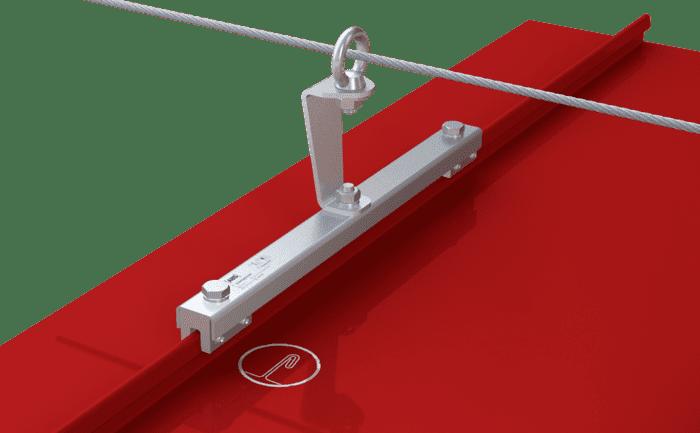 Grafik einer Metalldach-Zwischenstütze für Seilsicherungssysteme zur Absturzsicherung.Illustration d'un support intermédiaire de ligne de vie antichute pour toit métallique