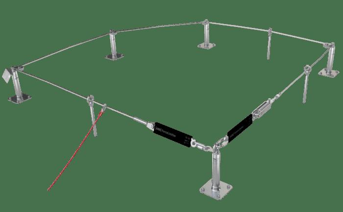 Illustration d'un dispositif d'ancrage antichute non franchissable dont le câble est tendu avec un élément tendeur
