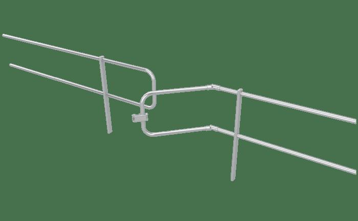 Deurelement voor uitbreiding van een dakrandbeveiliging voor platte daken.