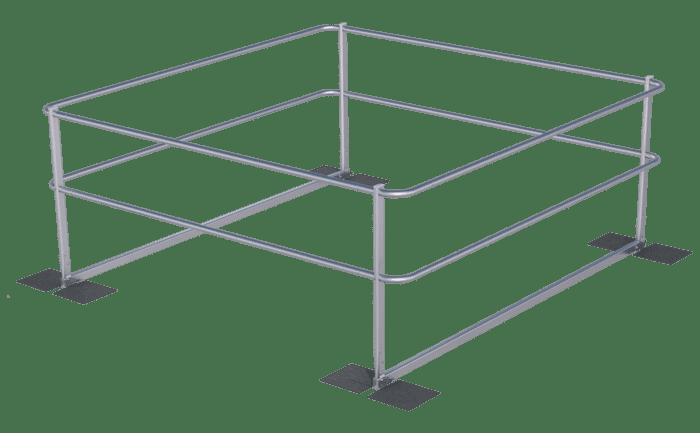 Grafik eines durchdringungsfrei auf dem Bitumendach verbauten Geländers.