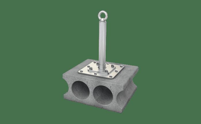Illustration produit du point d'ancrage ABS-Lock-X-SR-HD-AS pour la protection antichute (3 personnes) et pouvant également être utilisé en tant que possibilité de descente en rappel (1 personne)
