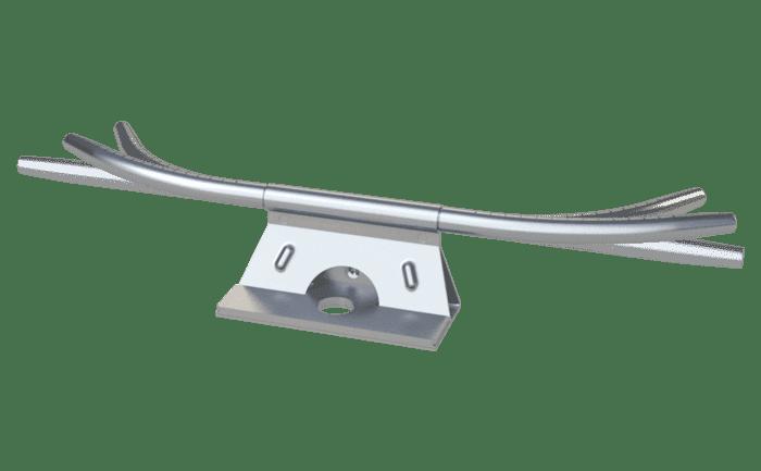 Achterkant van een volledig passeerbaar bochtelement in kabeltrajecten voor valbeveiliging.