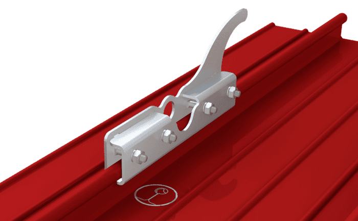 Image showing an ABS-Lock DH06 which was specially designed for roofers working on a seam roof - an anchorage point and ladder hook all rolled into one