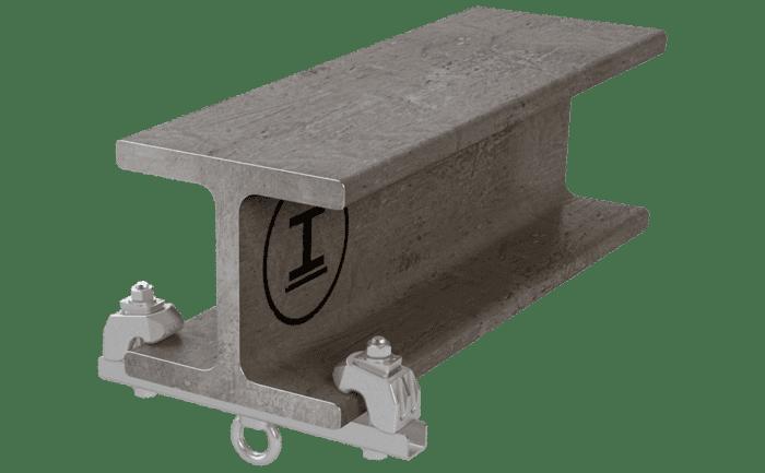 Een individueel ankerpunt dat zonder boren of lassen op een staler ligger wordt geklemd.