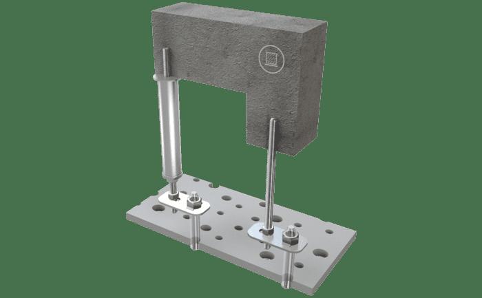Afbeelding van de aanlijnvoorziening ABS-Lock I & II met onderconstructie.