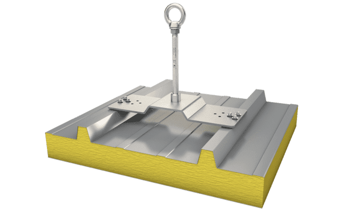 Image showing our stainless steel ABS-Lock X-SW-6 anchor which is simply attached to a sandwich profile using 6 screws