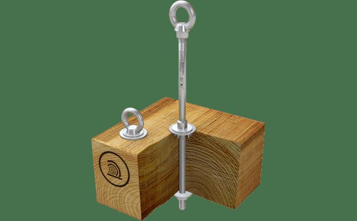 Foto van het ABS-Lock III-HW aanlijnpunt voor hout dat wordt geborgd met een moer.