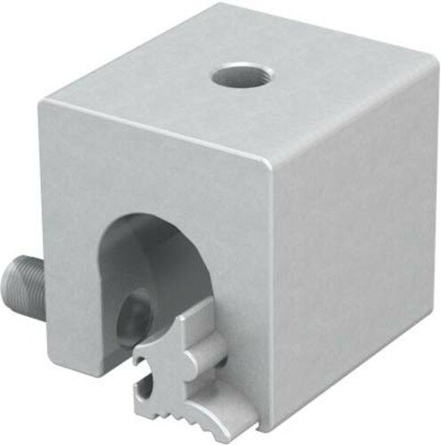 Detailed image of a rounded-edge seam clamp - specially designed for installing a fall arrest system on a metal roof surface