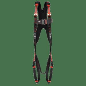 Een veiligheidsharnas voor werken op hoogte met schouderriemen met vulling en kliksluitingen.