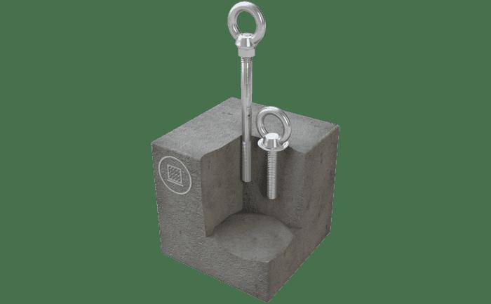 Afbeelding van het in beton gemonteerde aanlijnpunt ABS-Lock III-B.