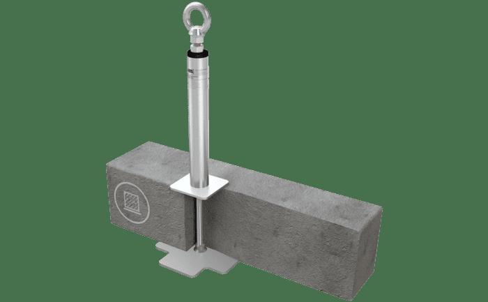Een met een steunbuis versterkt aanlijnpunt dat geborgd wordt door beton.