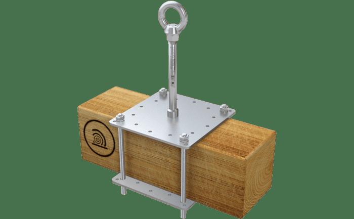 Grafik eines durchdringungsfrei montierten Sekuranten ABS-Lock X-Klemm für Holzbalken.