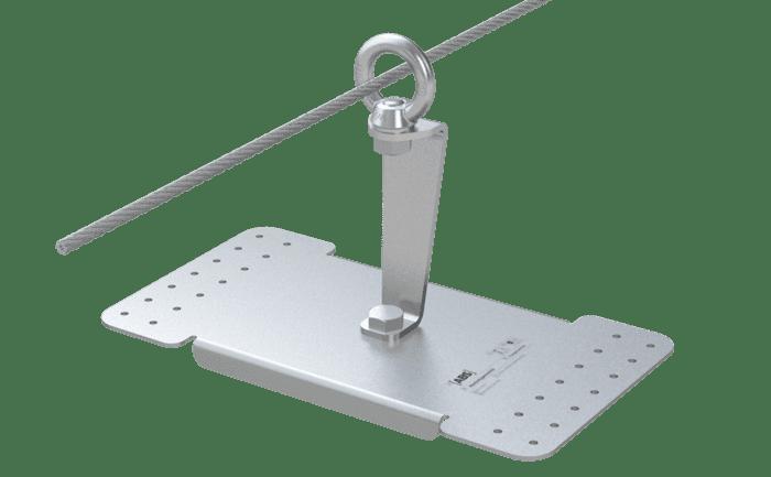 Een aanlijnpunt van het type ABS-Lock X-Rivet met 150 mm lange steun.