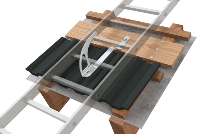 Image showing an alternative way of installing an ABS-Lock DH04-OG which allows roofers to flexibly align it according to their needs