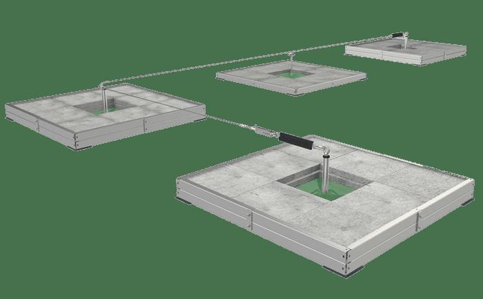 Grafik eines Seilsicherungssystems auf Basis mit Gehwegplatten beschwerter Stützen.