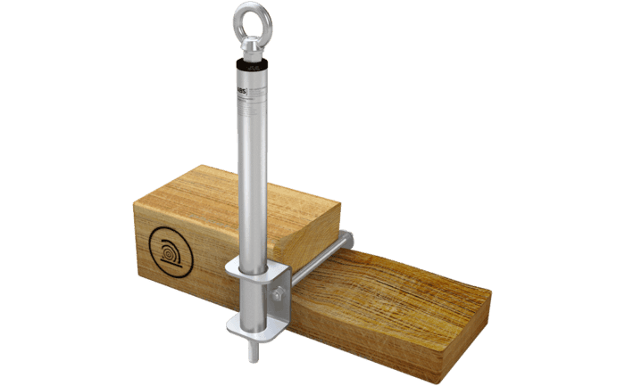 Foto van het aanlijnpunt ABS-Lock III-SEITL-SR als variant voor houtconstructies.