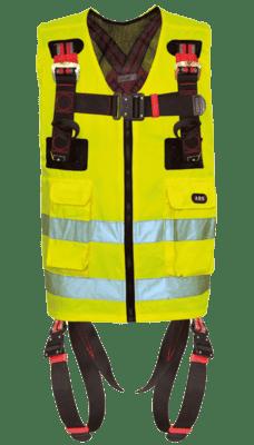 Neongeel veiligheidsvest met geïntegreerde harnasgordel voor valbeveiliging.