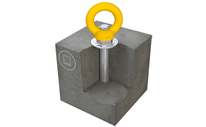 Image showing our anchor and its rotating anchorage eyelet installed in concrete