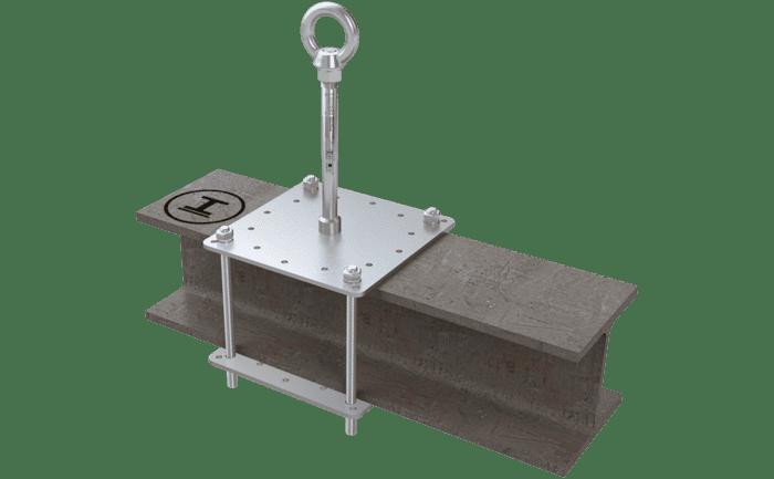 Illustration d'un point d'ancrage calé sur une poutrelle en acier