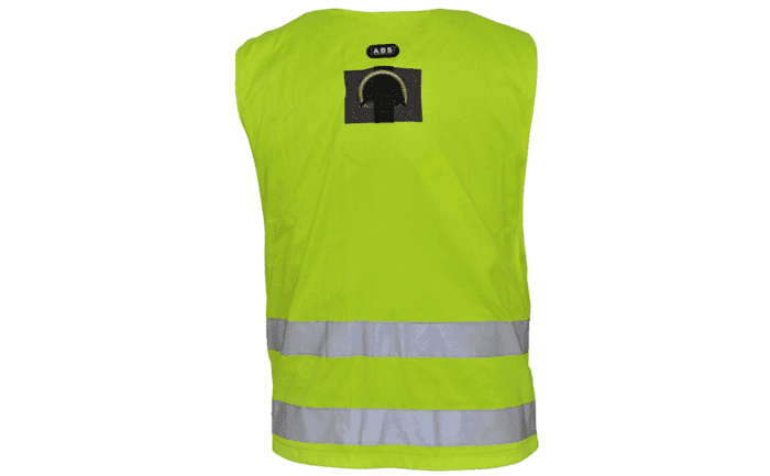 Rear view of an ABS ComfortVest safety harness which also functions as a high-viz vest