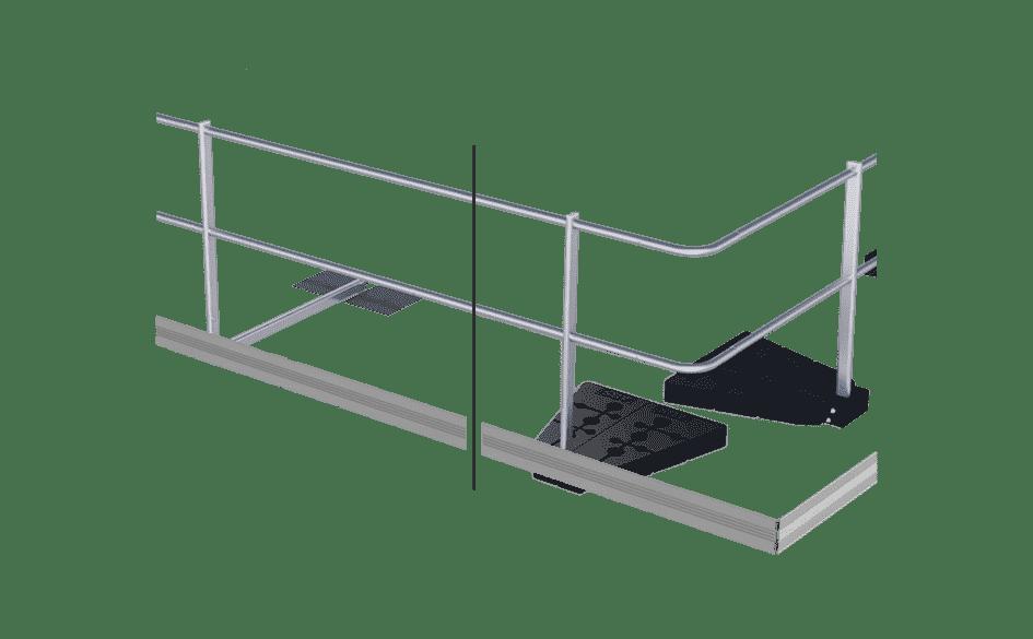 Optionele voetreling voor dakrandbeveiliging van ABS Safety.