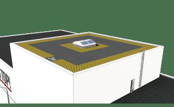 Darstellung des absturzgefährdeten Bereiches zur Absturzkante auf einem Dach