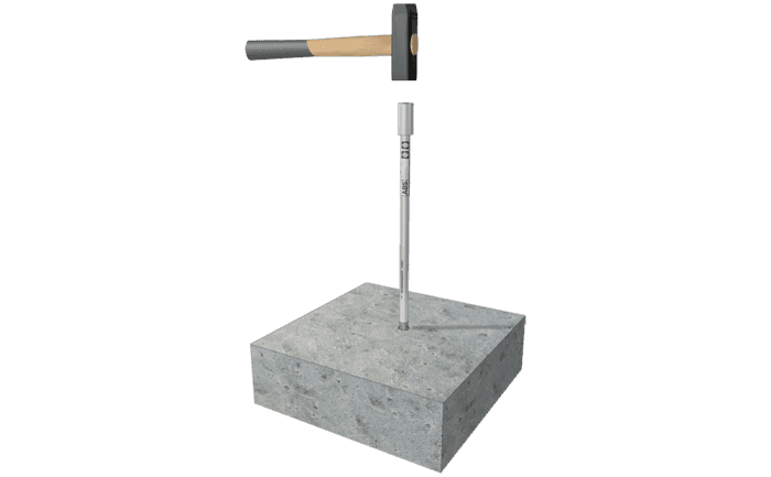 Image showing an anchor being hammered into a concrete surface using an ABS-Lock III-BE Installation Aid