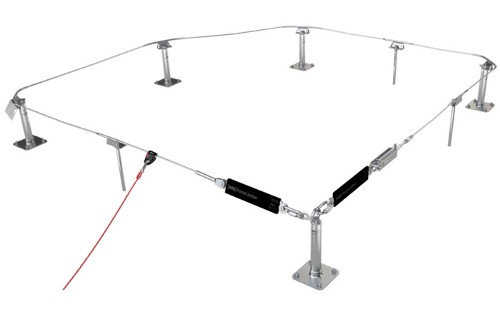Image showing a traversable lifeline system set up to secure workers working high up near a falling edge