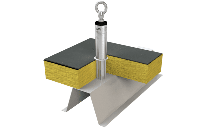 Image showing our stainless steel ABS-Lock X-T-One anchor with a special supporting tube for pre-insulated trapezoidal roof surfaces