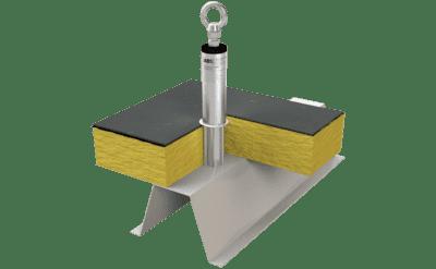 Grafik eines Edelstahlsekuranten mit Stützrohr für bereits eingedämmte Trapezblechdächer.
