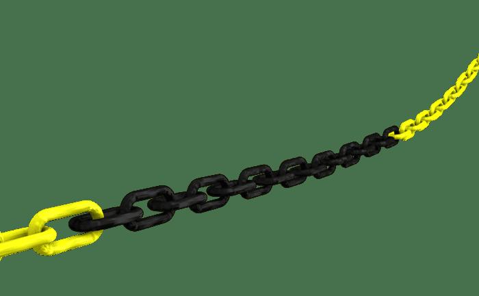 Illustration d'une chaîne en matière plastique servant à marquer les bords de chute et à en interdire l'accès