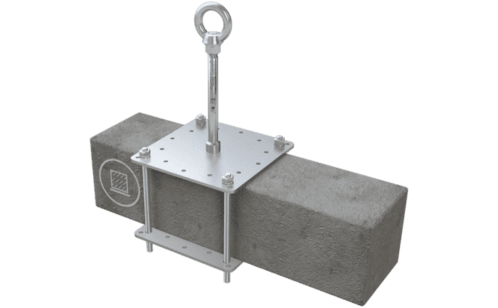 Image showing an ABS-Lock X-Klemm anchorage point for individuals - shown here clamped firmly onto a concrete pillar