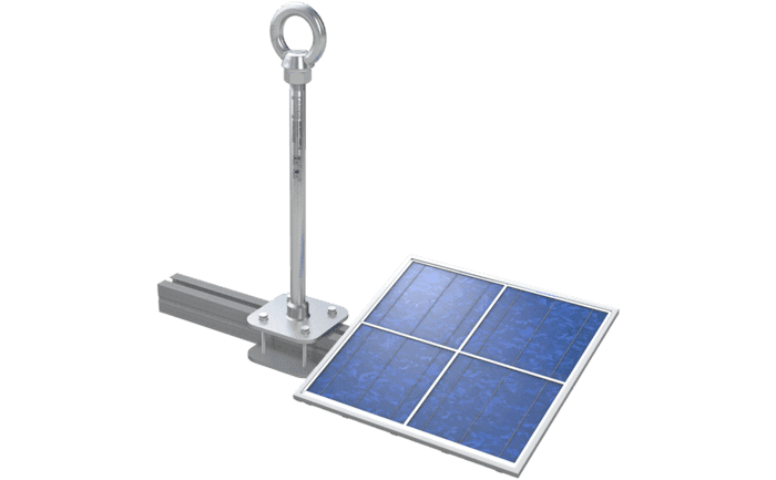 Image showing an ABS-Lock X-Solar anchor clamped onto the strut bearing a photovoltaic panel