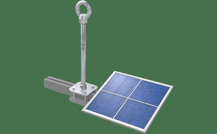Grafik eines Sekuranten, der um den Träger eine Photovoltaikanlage geklemmt ist.