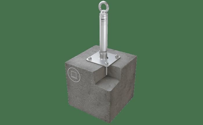 Illustration d'un point d'ancrage fixé sur l'infrastructure avec du mortier bi-composant